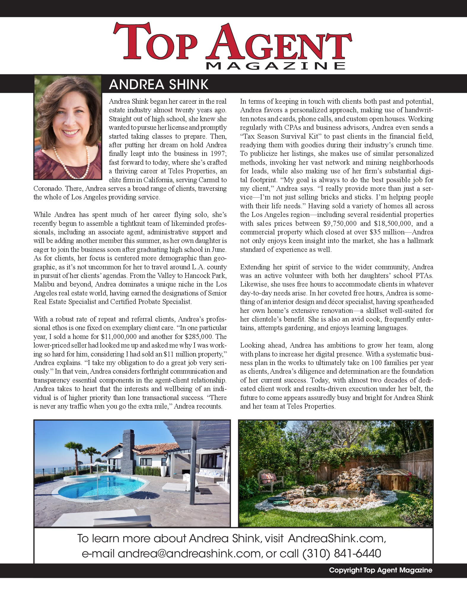 Image of Top Agent Article where Andrea Shink was featured.