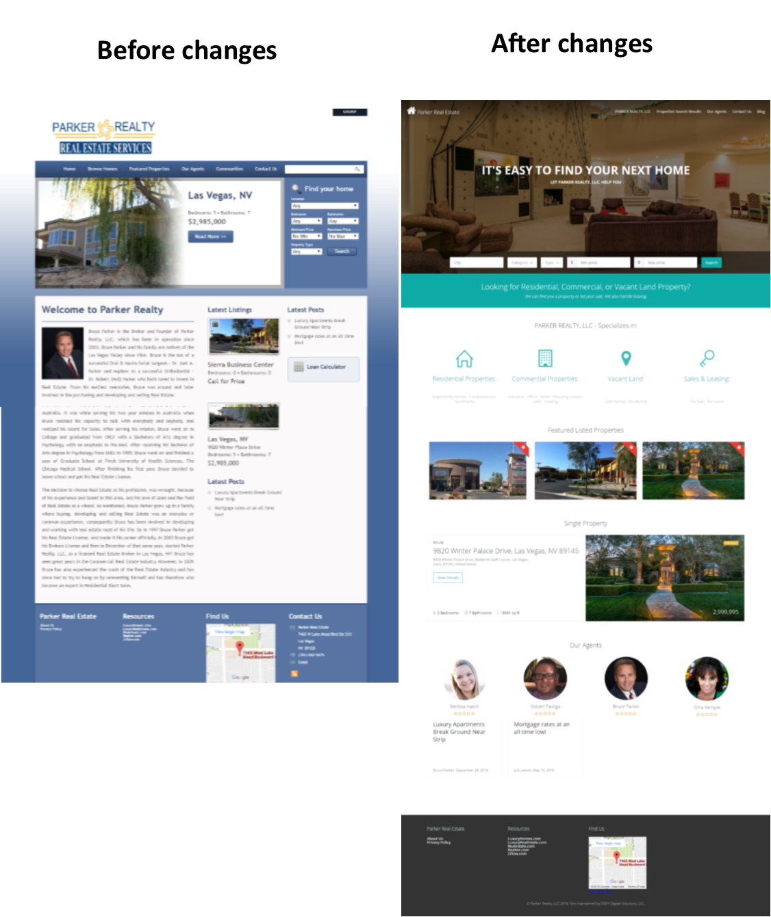 Image of Parker Realty Website Before and After changes.