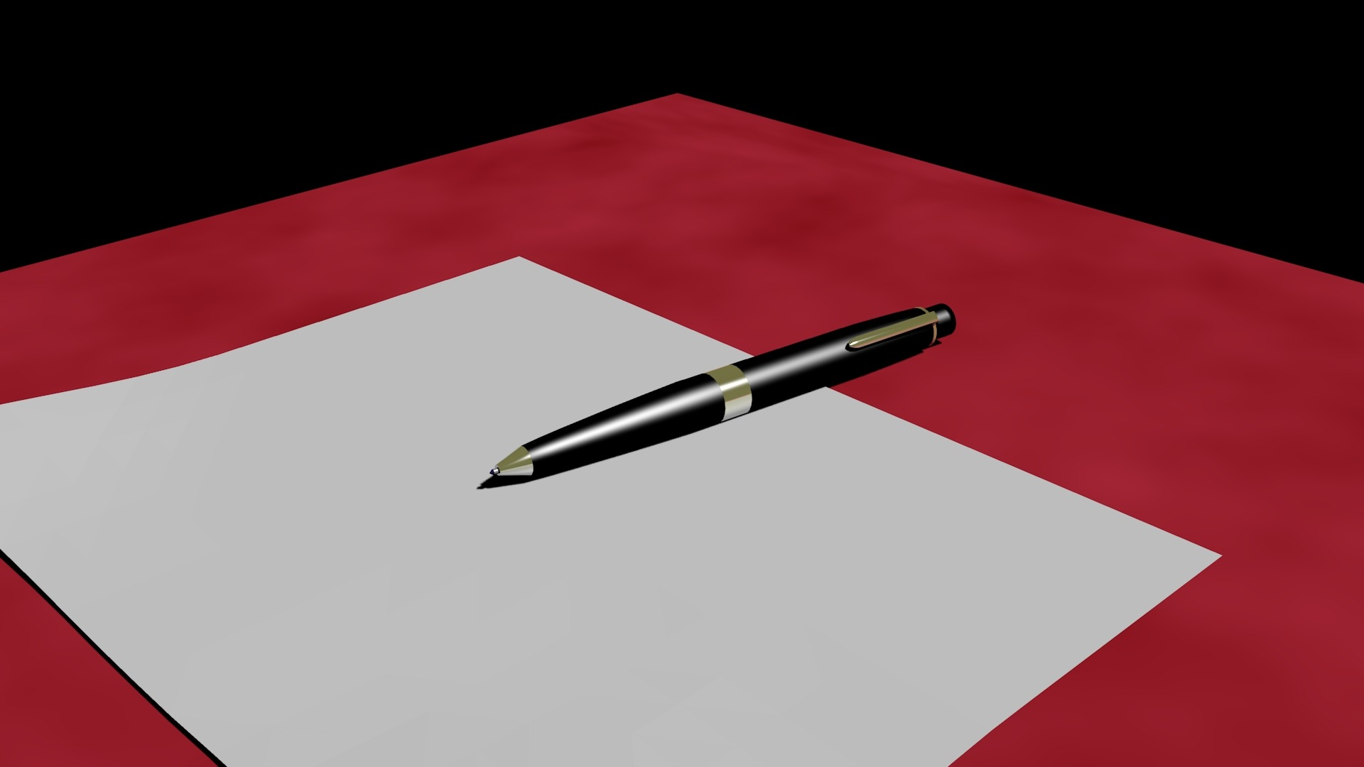 Content - Image of a blank piec of paper and pen on top of a red table.