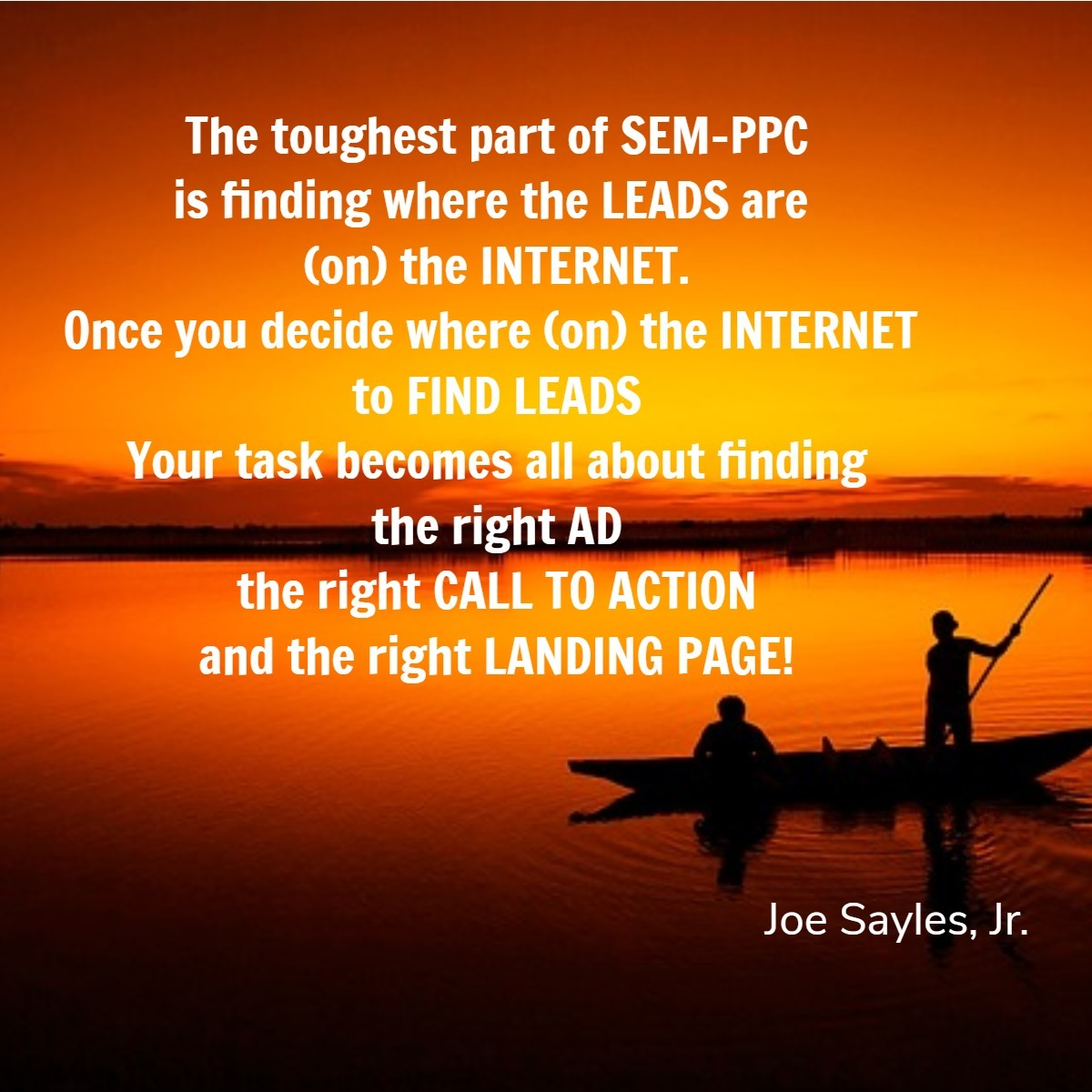 PPC Is Like Fishing Quote on image of sunset with asian fisherman in canoe