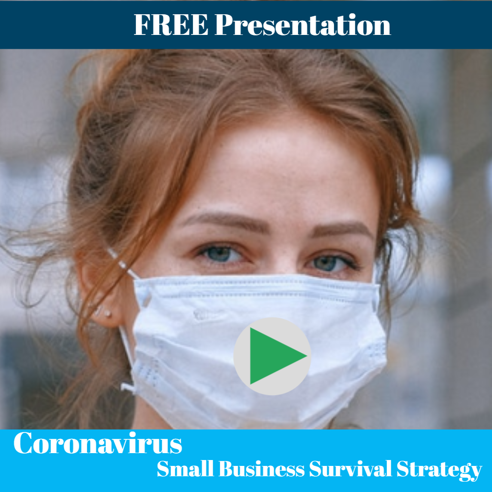 Coronavirus Small Business Survival Strategy - FB Sq with Play Button 1000 x 1000